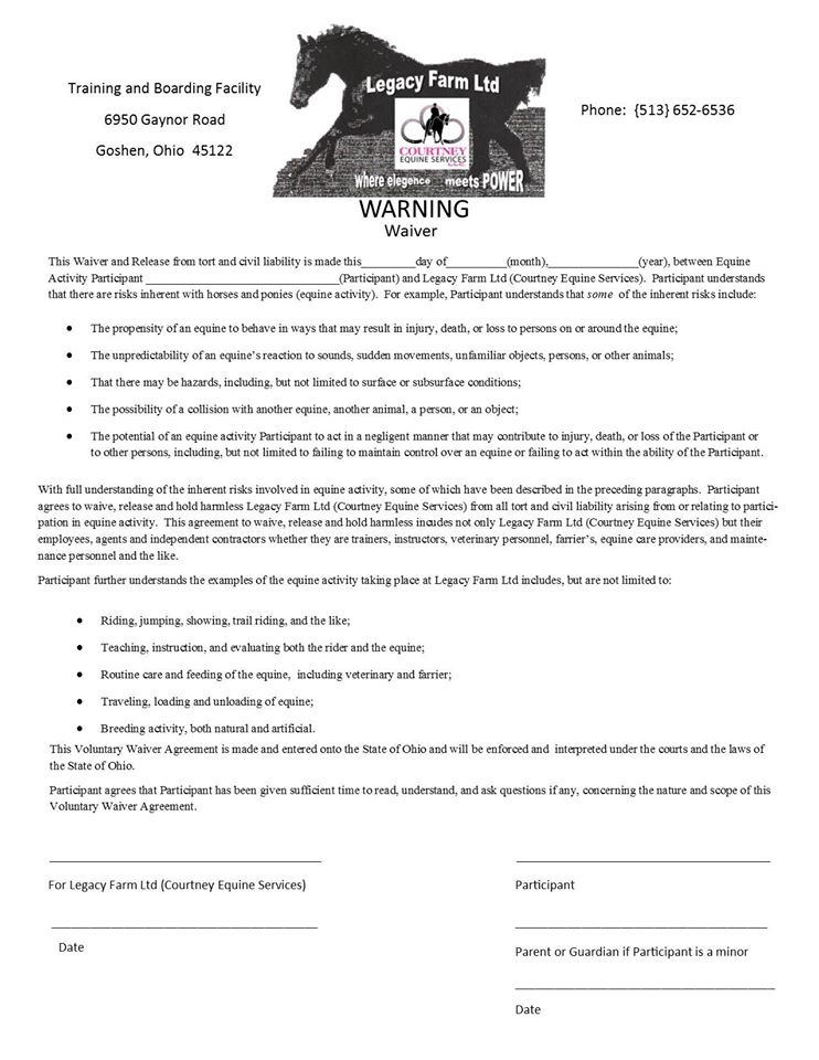 About Us Legacy Farm LtdLegacy Farm Ltd – Equine Release Form